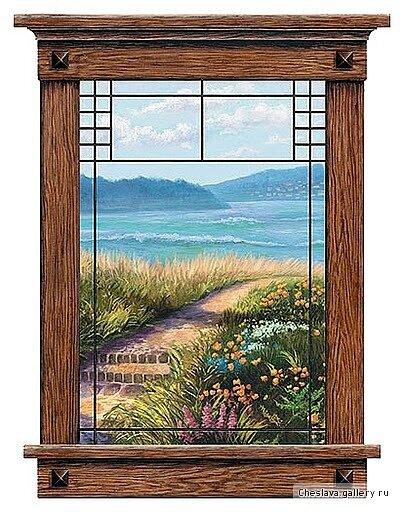 """Схема вышивки  """"Вид из окна """" ."""
