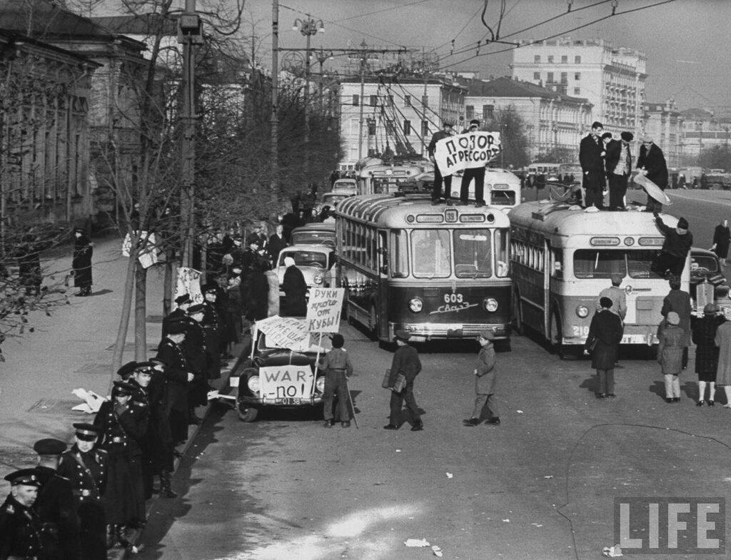 демонстрации против американской блокады Кубы.1962 год