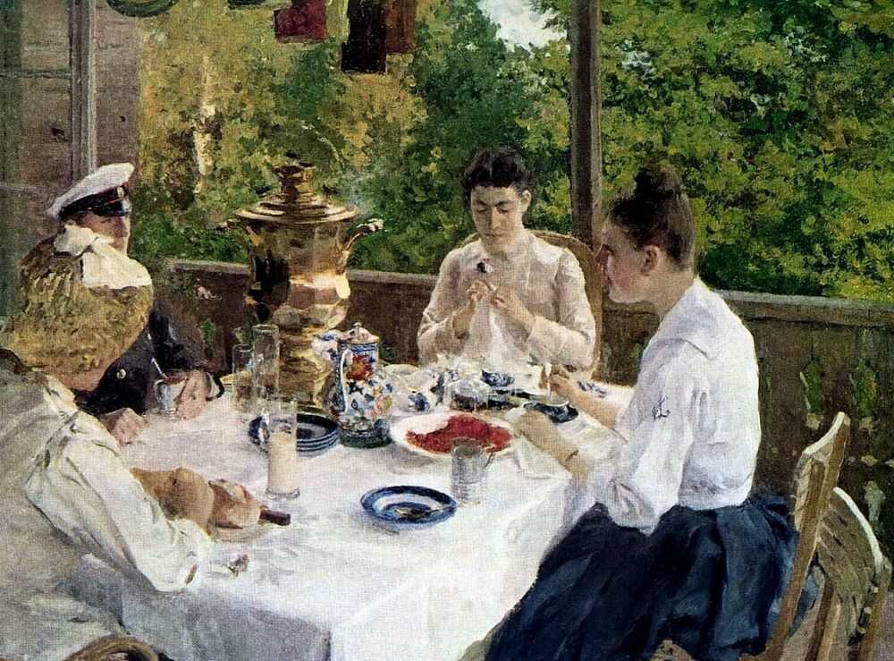 Коровин Константин. За чайным столом. 1888 г.