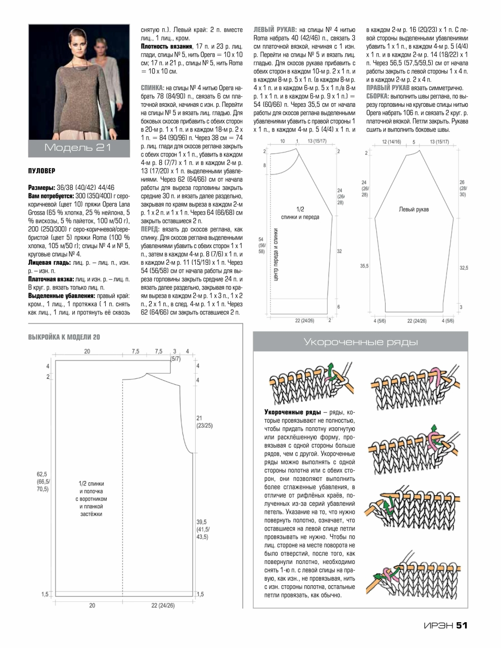 Схема свитера укороченными рядами
