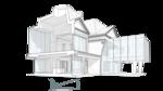 Разрез жилого дома. План второго этажа нависает над опорным первым, основные помещения на втором этаже