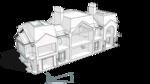 Разрез фронтальный. Коттедж с классическими декоративными элементами убранства фасадов