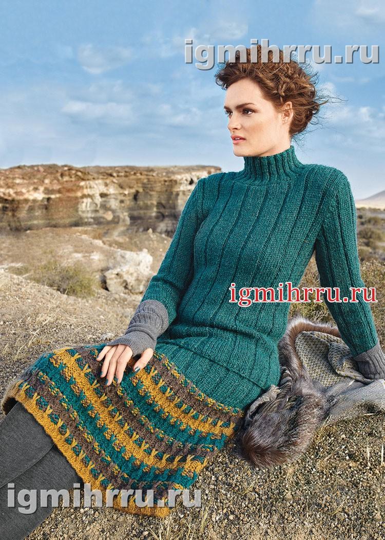 Костюм из свитера в резинку и юбки с узором из вытянутых петель. Вязание спицами