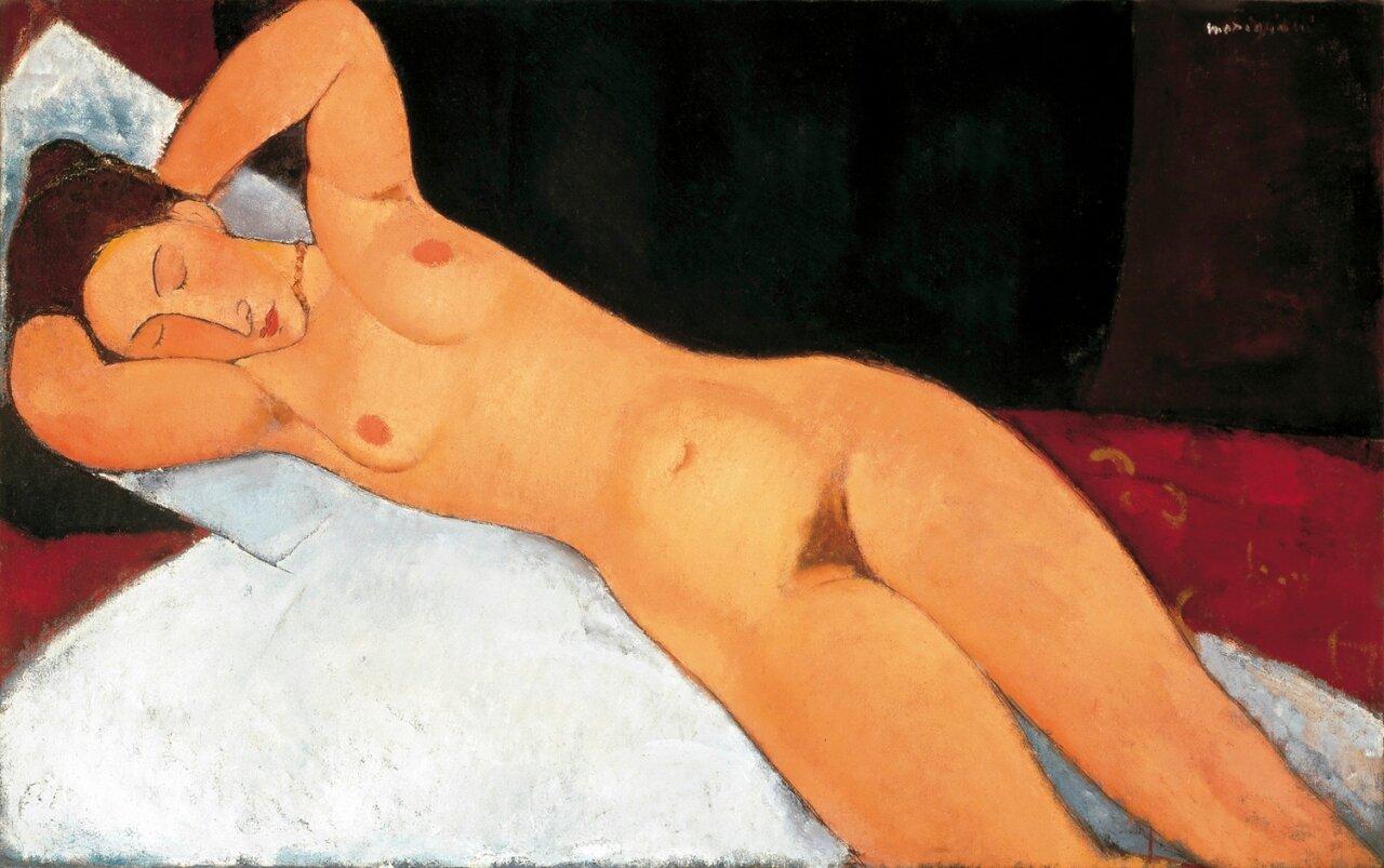 Модильяни: Обнажённая с ожерельем 1918-1919. Sleeping Nude, Nude with Necklace