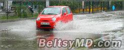 Ливни в Бельцах превращают дороги в озёра