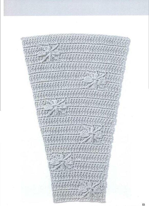Схемы узоров для расширения полотна , для платьев, юбок и круглой кокетки (крючок) .