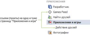 Games Feed - дубликат ссылки Действия друзей подпункт пункта Приложения и игры