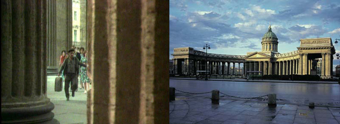 15. Мафиозо крадет у них чемодан и мистическим образом оказывается у Казанского собора. Колоннада Ка