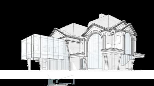 Особняк 29х12 метров, на 2-е семьи, состоящий из трех двухэтажных домов с мансардой.