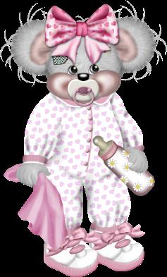 Мишка тедди в ночной пижаме с розовым