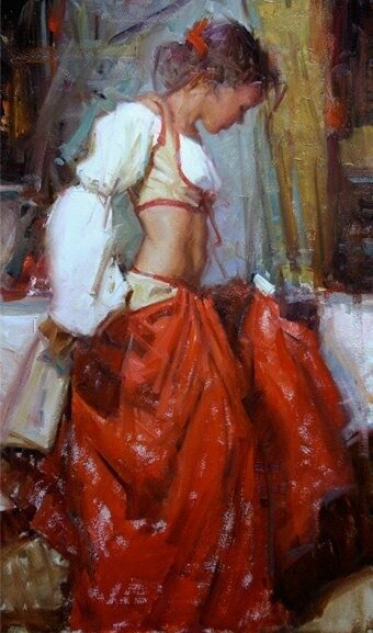 """Схема вышивки  """"Уличная танцовщица """": оригинал."""