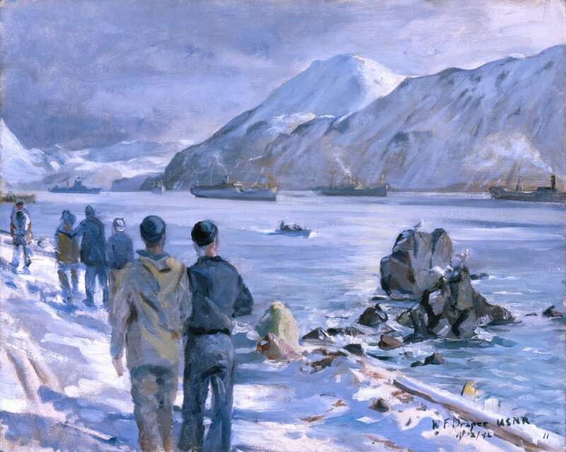 William F. Draper - Awaiting Convoy (1942) Here merchantmen and freighters await a convoy escort in the protected waters of Dutch Harbor.