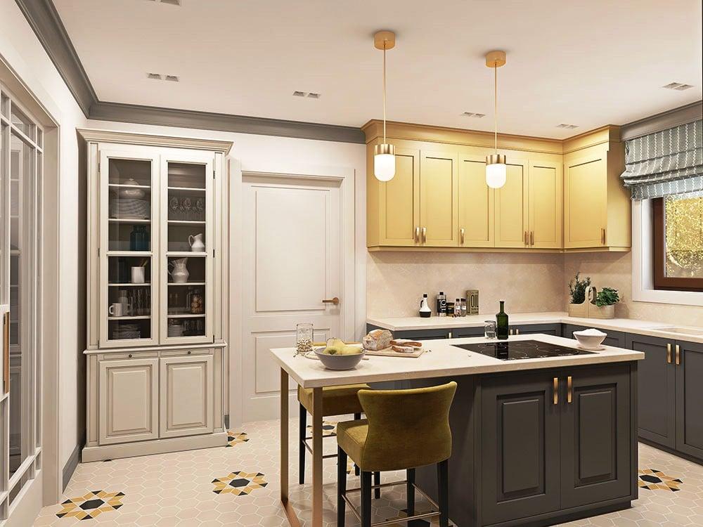 П-образная кухня. Это вариант для больших просторных кухонь. В этом случае модули гарнитура располаг