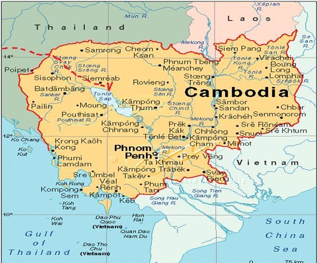 Где находится камбоджи на картах