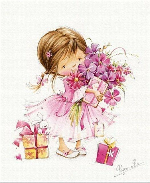 Открытка девочка с подарком