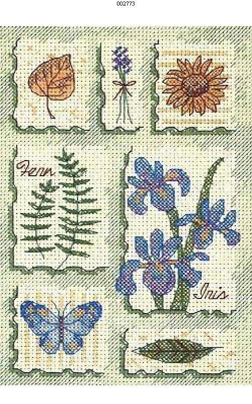 Полевые цветы.  Вышивка крестом, схемы.