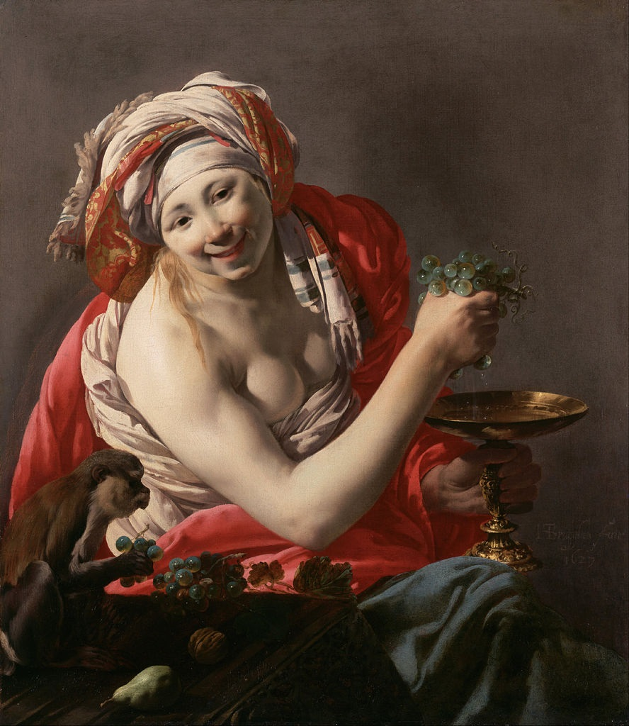 Bacchante with an Ape, 1627, Hendrick ter Brugghen (Dutch 1588-1629)