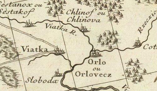 Город вятка на старой карте