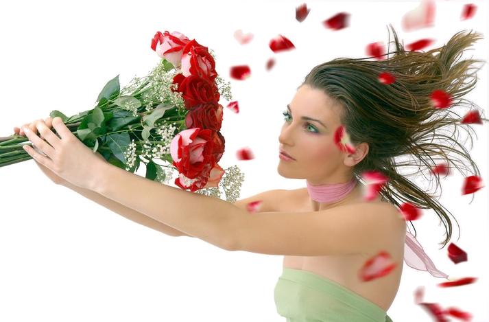 Открытки девушка с цветком 291