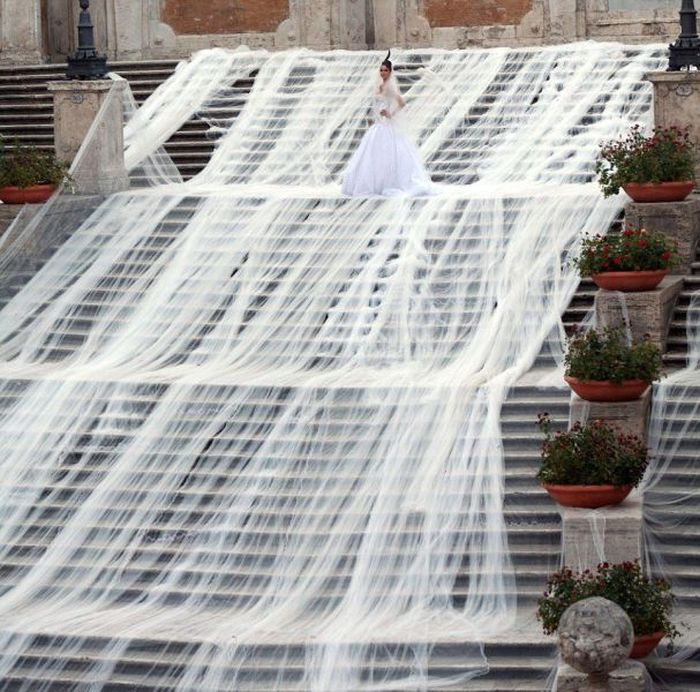 The longest wedding dress in the world at the Trinita de Monti