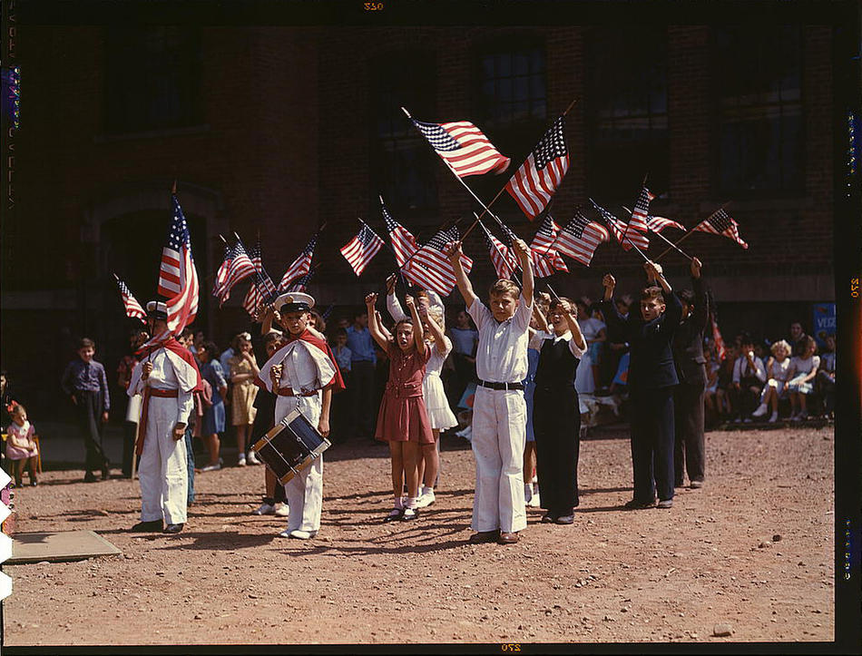 Children stage a patriotic demonstration. Southington, Connecticut, May 1942. Reproduction from color slide. Photo by Fenno Jacobs. Prints and Photographs Division, Library of Congress