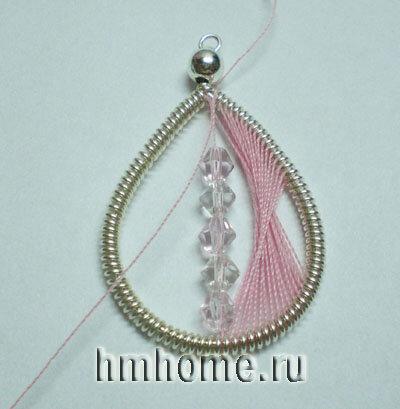 Розовые серьги  в технике ганутель