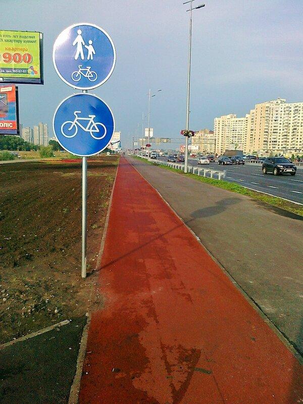Знаки для велосипедистов на проспекте Бажана