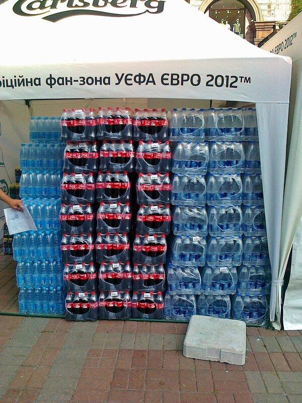 Кока-Кола и минеральная вода для болельщиков Евро 2012