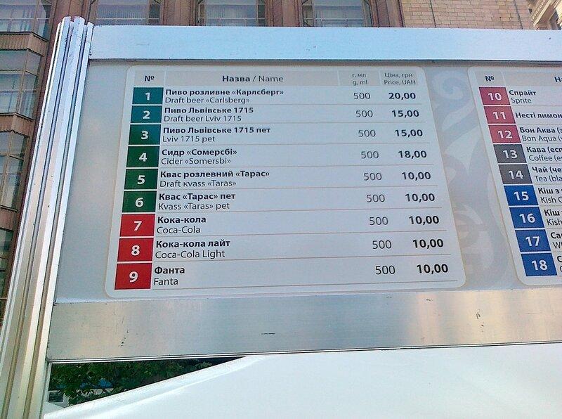 Цены на напитки в фан-зоне Евро 2012