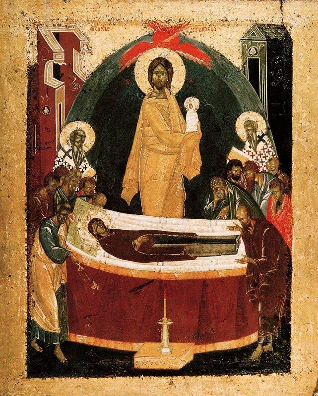 Успение Пресвятой Богородицы. Икона. Около 1392 года. Мастерская Феофана Грека.
