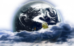 Луна, облака, земной шар