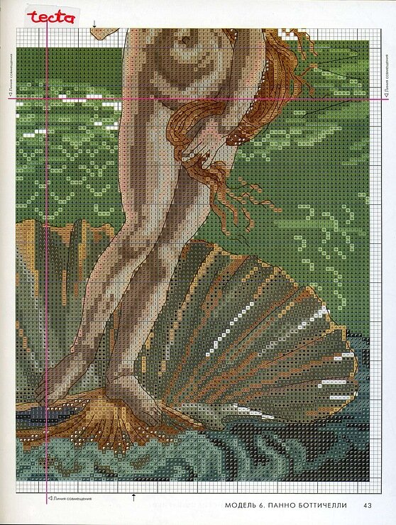 """Мастер-класс по вышивке  """"Рождение Венеры """".  Картина Сандро Боттичелли фото 5."""