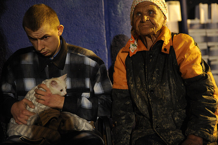 Victims of the flood rest in a temporary shelter in Krymsk