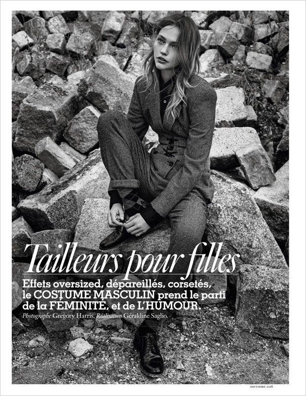 Sasha Pivovarova Stuns in FW16 Suits for Vogue Paris November Issue (10 pics)
