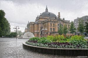 Норвежский национальный театр (дождь, Осло, театр, цветок)