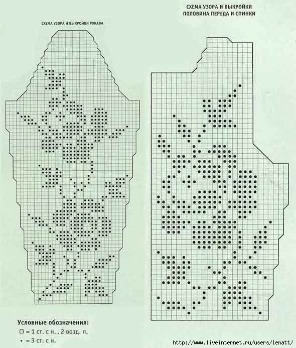 Схемы вязания моделей филейным вязанием 899