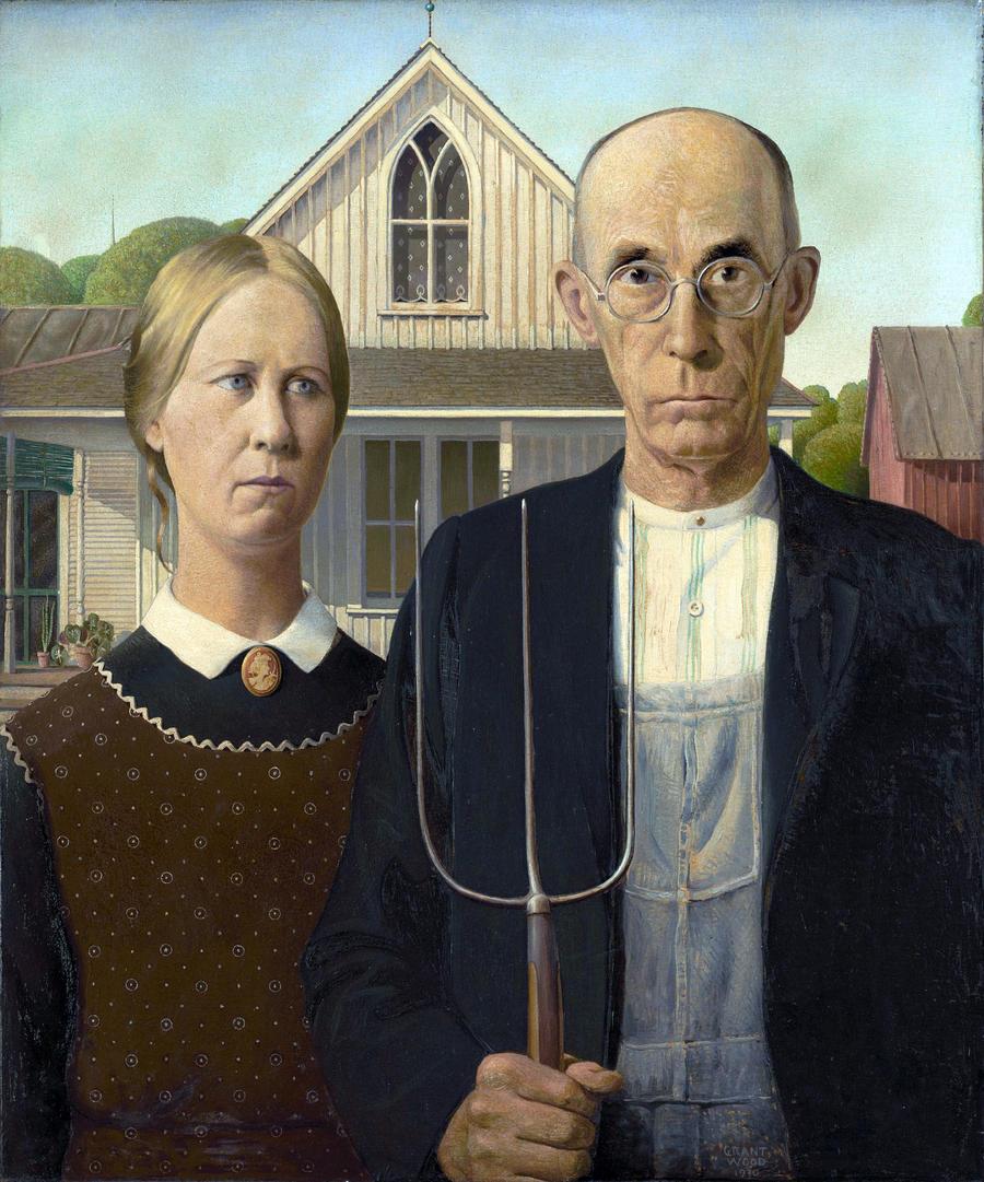 7. «Американская готика» Многие считают работу Гранта Вуда странной и угнетающей, хотя совершенно ни