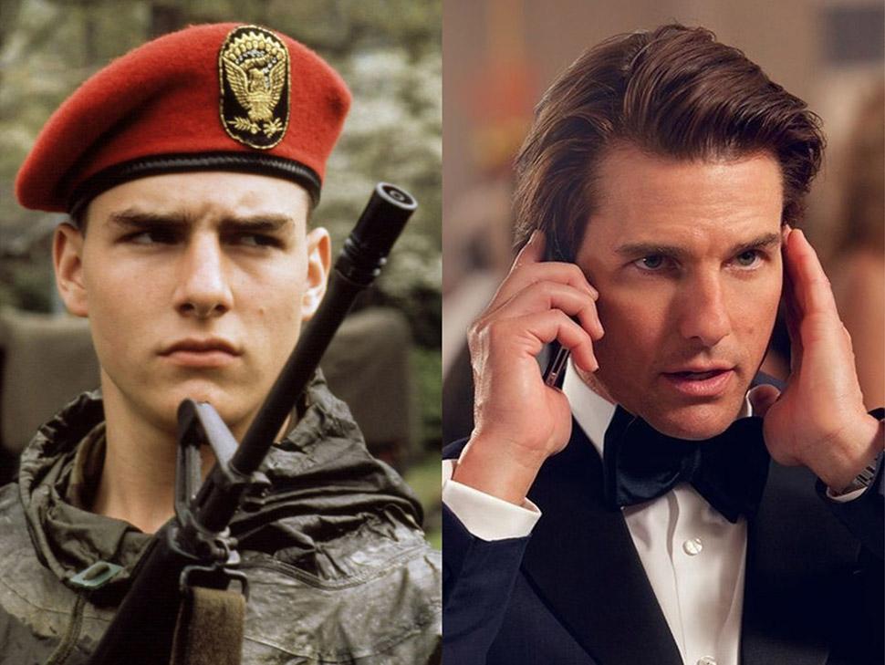 Том Круз: «Отбой» (1981) и «Миссия невыполнима: Племя изгоев» (2015).