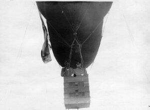 Вид нижней части дирижабля и подвесной корзины. В корзине полковник С.П.Одинцов и  генерал А.В.Каульбарс.