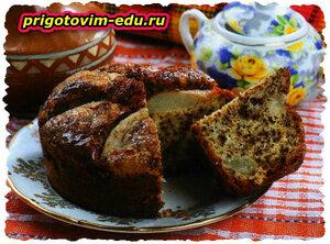 Грушевый пирог с фундуком и шоколадом