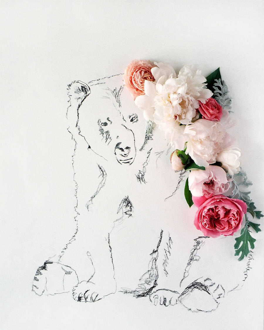 Poetic Illustrations of Animals Featuring Flowers