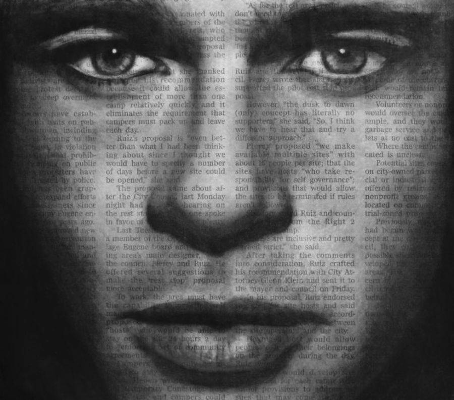 Portraits of Celebrities on Newspaper