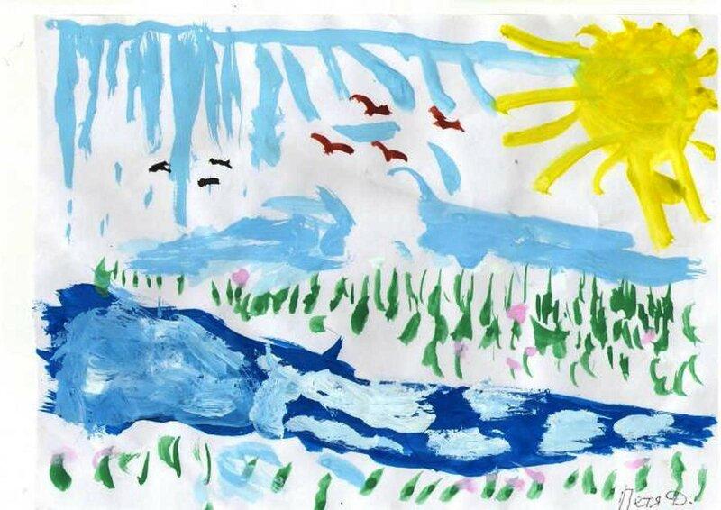Птички летят домой - Демидов Петя, 4 лет, Тема -- Рисунок, пгт. Краснообск (Новосибирский р-н).jpg