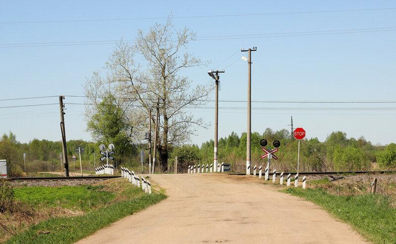 Переезд деревни Папино, чуть севернее от входного сигнала Н станции Рождествено