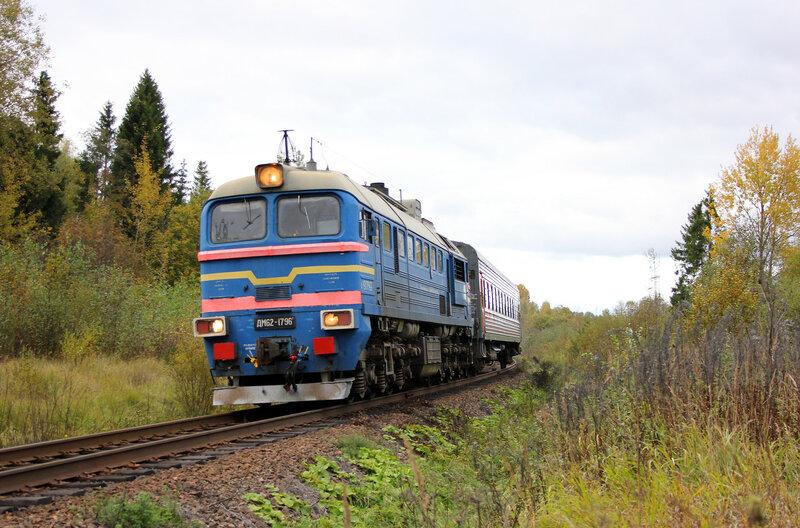 ДМ62-1796 с пригородным поездом 6983, Весьегонск — Сонково на перегоне Овинище-1 - Остолопово