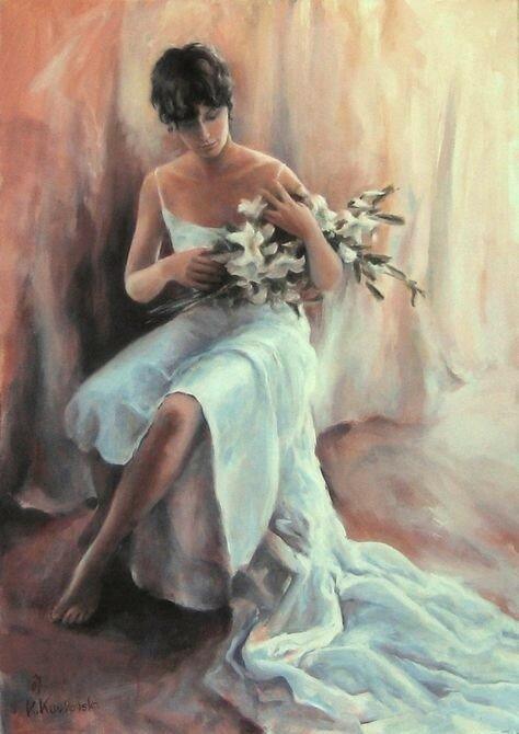 Женщина и цветы. Художница Katarzina Kurkowska