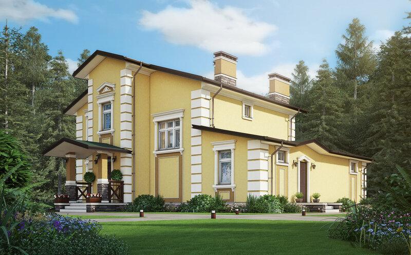 проект дома, коттедж, визуализация