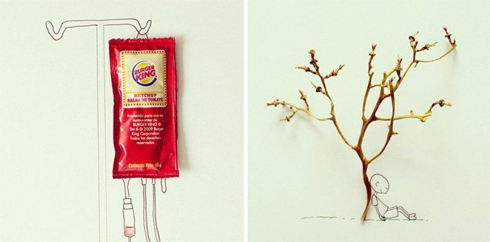 Хавьер Перес из города Гуаякиль (Эквадор) создает свои рисунки-инсталляции, дорисовывая детали к леж