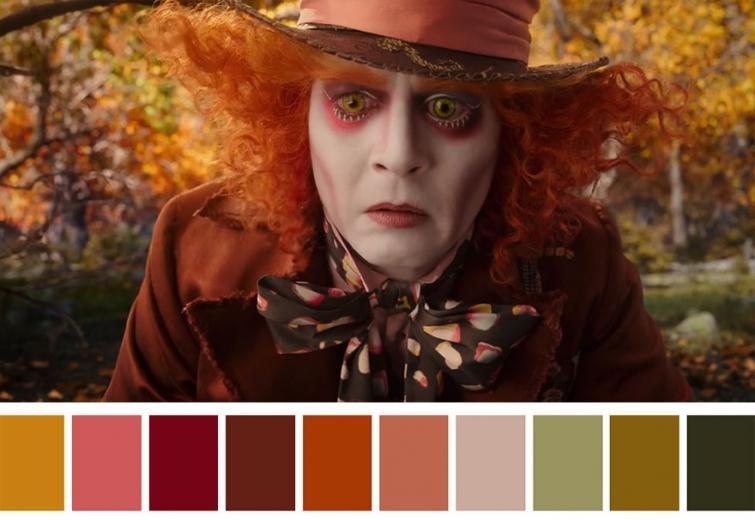 Вдохновляющие цветовые палитры из сцен известных фильмов.