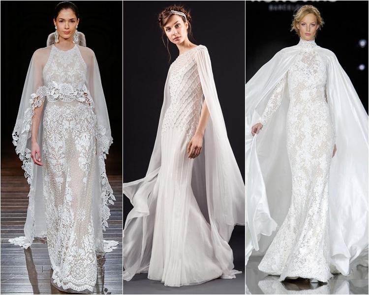 Модные свадебные платья весна-2017: кружевные с кейпами